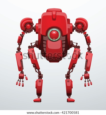 Vector image of funny bright red robot with two arms and legs, with a red lens in the center of the body standing on a light gray background. Future, technology, modern. Vector humanoid robot. - stock vector