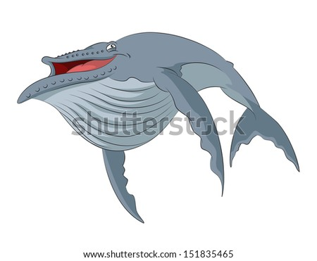 Vector image of funny cartoon smiling whale - stock vector