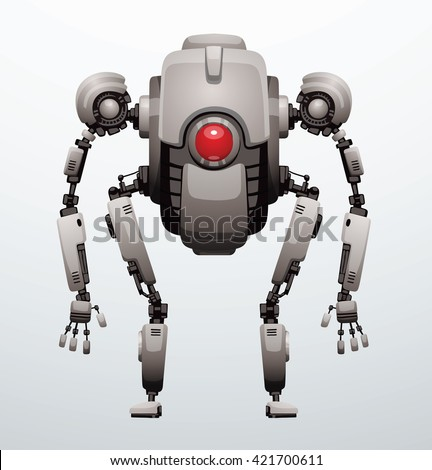 Vector image of funny white robot with two arms and legs, with a red lens in the center of the body standing on a light gray background. Future, technology, modern. Vector humanoid robot. - stock vector