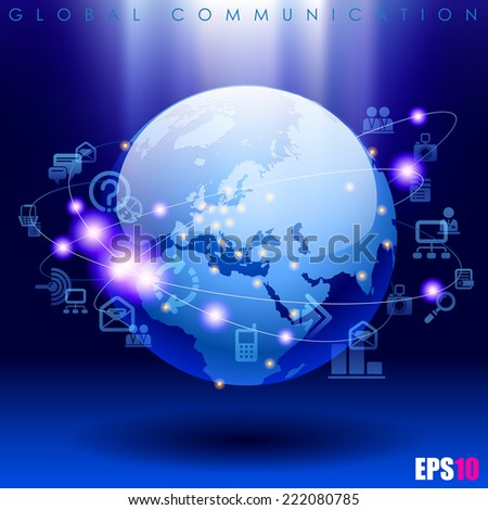 Vector image of globe and web icons on bright blue background. World digital communication and technology network - stock vector
