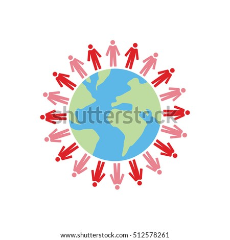 Vector image of globe with people circling