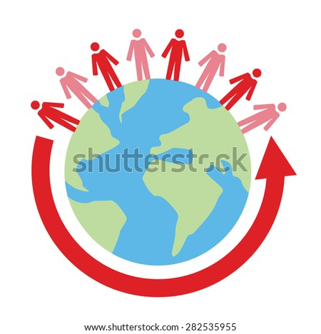 Vector image of globe with people on top and an arrow cirling
