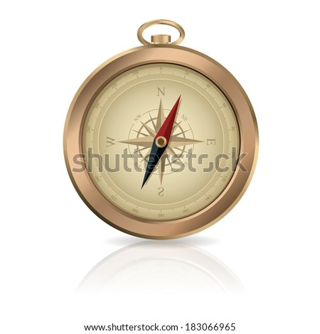 Vector image of gold shiny metalic Compass
