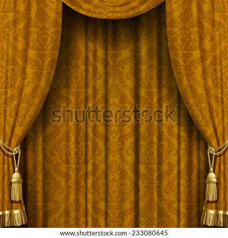 Vector image of golden curtain with Baroque ornament. Square theater background. Artistic poster - stock vector