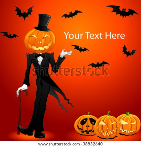 Vector image of halloween jack o lantern - stock vector
