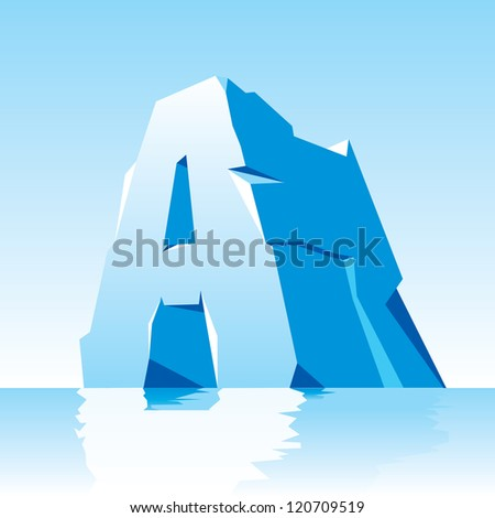 vector image of ice letter A - stock vector
