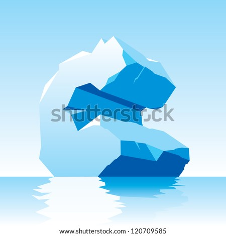 vector image of ice letter C - stock vector