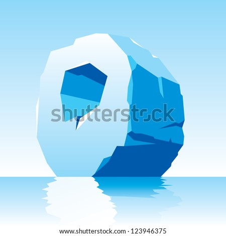 vector image of ice letter O - stock vector