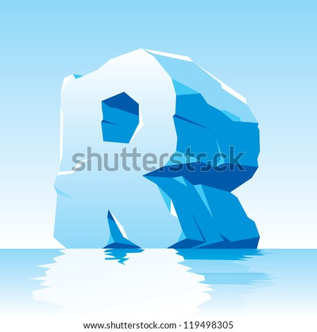 vector image of ice letter R - stock vector