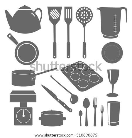 Vector image of kitchenware - stock vector