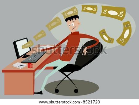 vector image of man working online concept - stock vector