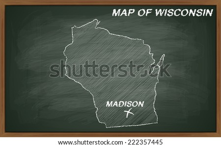 vector image of map of Wisconsin. Transparency used. Source: http://www.lib.utexas.edu/maps/