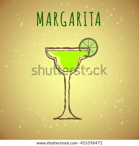 vector image of Margarita cocktail, stylized in the color