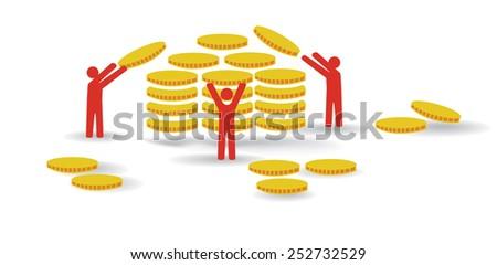 Vector image of men piling up money - stock vector