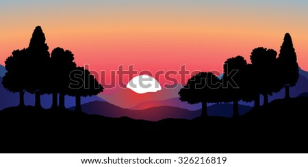 Vector image of mountain scenery with sunset, sunrise. The outline line forests of deciduous trees in the foreground and mountain range in the background. Pink sky in the background purple mountains. - stock vector