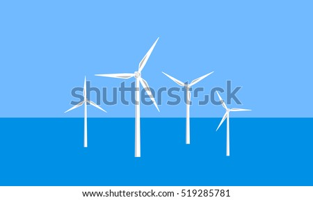 Vector image of offshore wind turbines