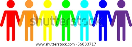 Vector image of people icons in a rainbow of colors - stock vector