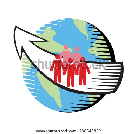 Vector image of people on a globe with an arrow indicating travel, immigration, working abroad, displacement  - stock vector