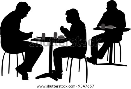 vector image of people setting at the cafeteria - stock vector
