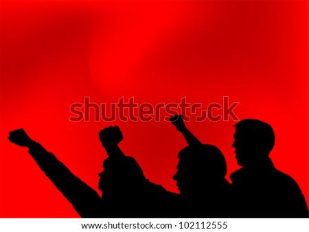 Vector image of people with clenched fists - stock vector