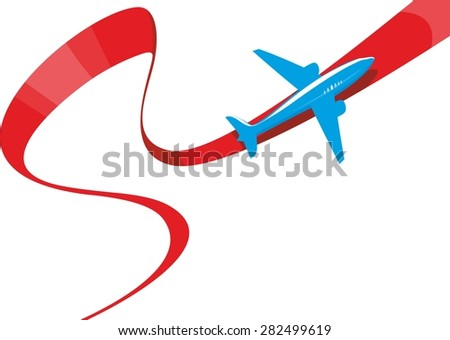 vector image of silhouette of jet airplane - stock vector