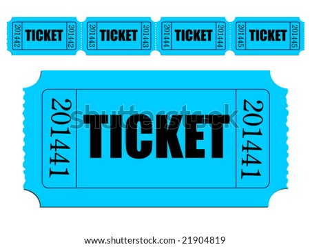 Vector image of single ticket and strip of tickets