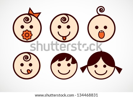 Vector image of smiling flowers with baby faces - stock vector