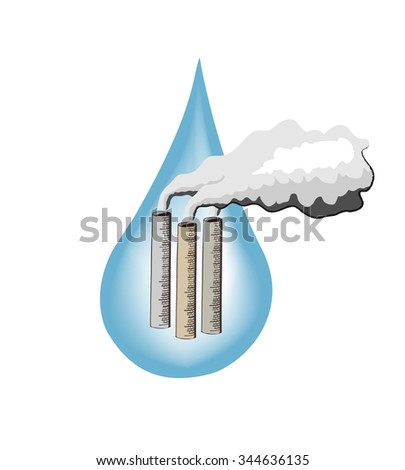 Vector image of smoking chimney on a background of a large water drop - stock vector