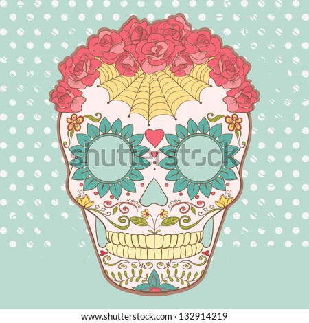 Vector image of Sugar Skull can be used for T-shirt, bag and other clothes. - stock vector