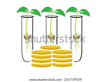 Vector image of test tubes containing plant seedlings around coins - stock vector