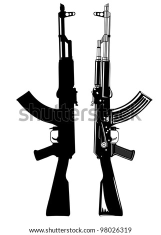 Vector image of the automatic machine AK 47 - stock vector