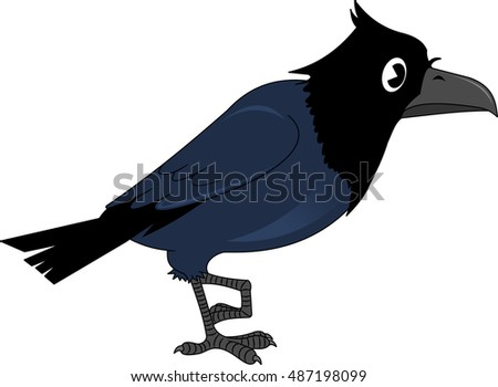 Vector image of the cartoon smiling crow, illustration