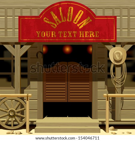 Vector image of the door of the Saloon in Wild West with a red signboard - stock vector