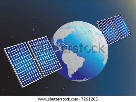 Vector image of the Earth with solar panels attached on it.