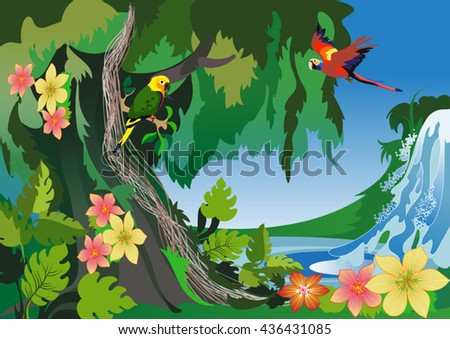 Vector image of the exotic shores of the ocean and the wild 