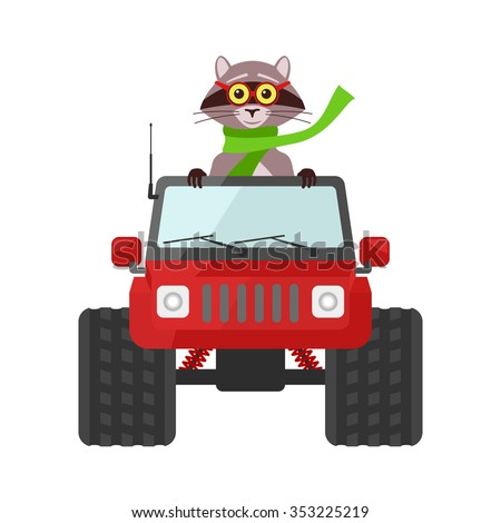 Vector image of the raccoon driving a red SUV toy car