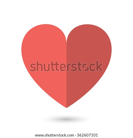 Vector image of the red paper heart. Flat, simple heart shape floating in the air on the white background. Cute design element for valentine's day card. - stock vector