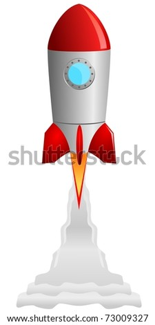 vector image of the rocket taking off - stock vector