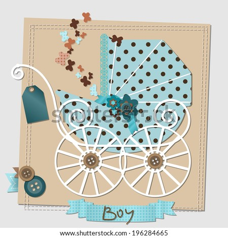 Vector image of the scrap-booking card with the vintage stroller. - stock vector