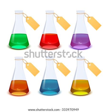 Vector image of the set of diffirent flasks with labels