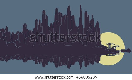 Vector image of the silhouette of the city metropolis. Reflection in the river bay views. In the port the ship pier. Background for comics and videos, storyboards