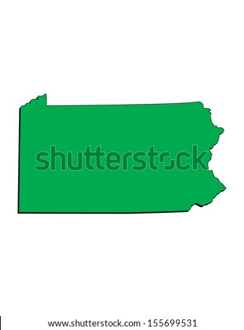 Vector Image of the State of Pennsylvania; Illustrator 8 - stock vector