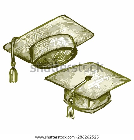 Vector image of the top hat. Graduation Cap. Student hat.