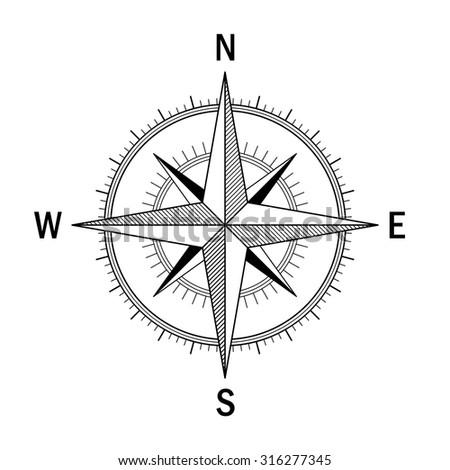 Vector image of the Wind Rose. Easy recolor. Ideal for drawings, maps , directions schemes. - stock vector