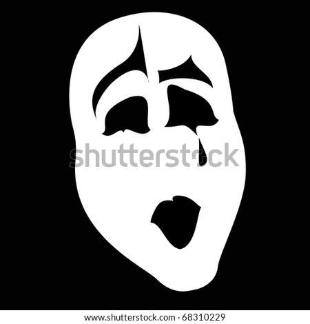 Vector image of Theater Masks tragedy and comedy - stock vector