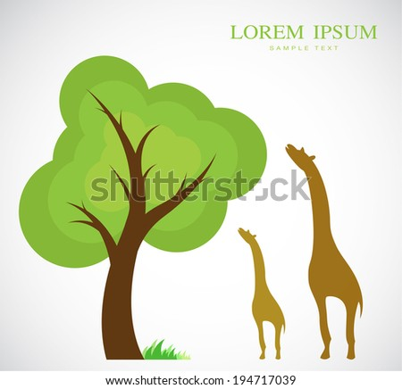 Vector image of trees and giraffes on white background - stock vector