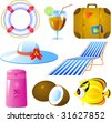 Vector image of vacation icon set, isolated - stock vector