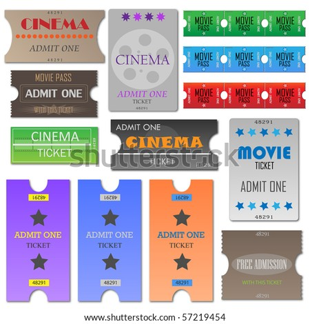 Vector image of various cinema tickets. - stock vector