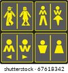 Vector image of various restroom signs, set of wc icons - stock photo