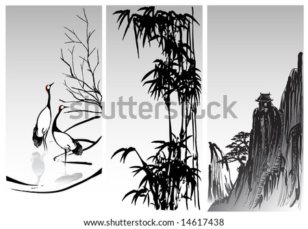 vector image of vertical scroll oriental paintings - stock vector